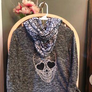 Womens long sleeve Halloween skull shirt